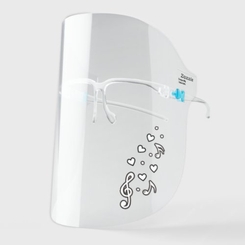 Musical Notes Treble Clef Cute Music Plain Face Shield