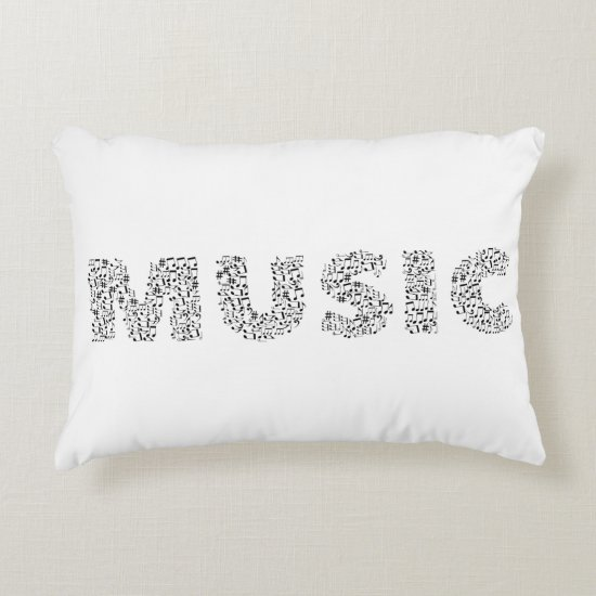 Musical Notes Typography Music Accent Pillow