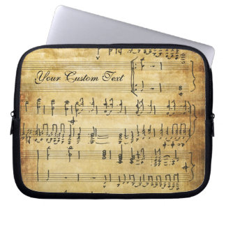 Musical Notes Vintage Grunge Parchment Computer Sleeve
