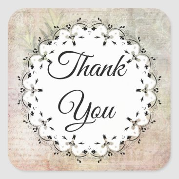 Wedding Themed Musical Notes Vintage Thank You Stickers