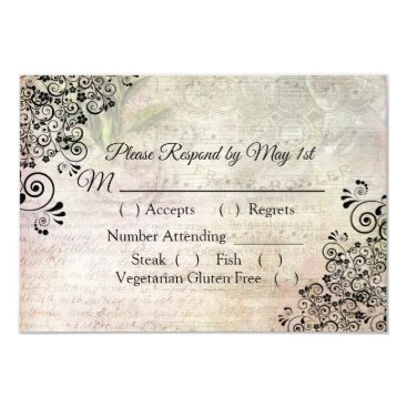 Wedding Themed Musical Notes Wedding RSVP card