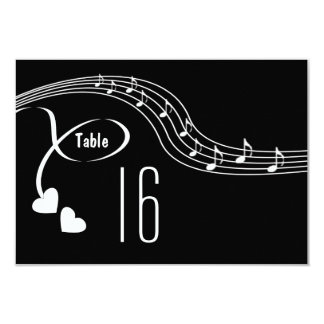 """Musical Notes Wedding Table Number Card 3.5"""" X 5"""" Invitation Card"""