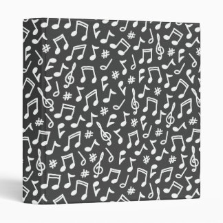 Musical notes white gray scribbly music pattern binder