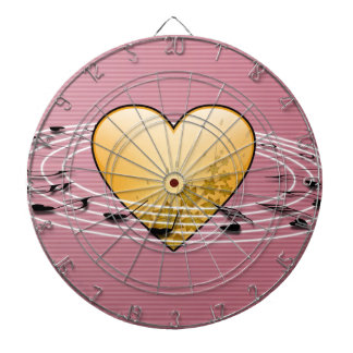 Musical Notes with Heart Design Dartboard With Darts