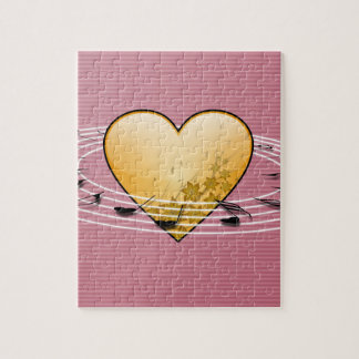 Musical Notes with Heart Design Jigsaw Puzzle