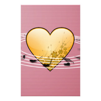 Musical Notes with Heart Design Stationery