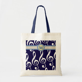 musical notes with monogram tote bag