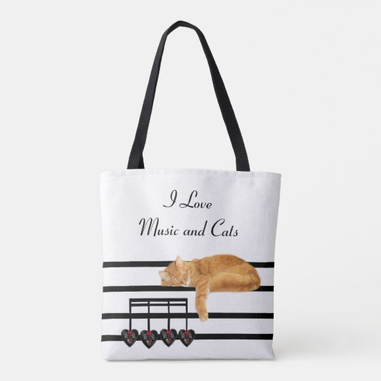 Musical orange tabby kitty cat tote bag