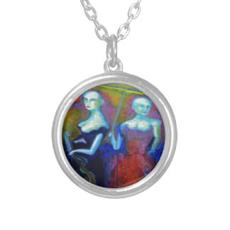 Musical Outing Painting Silver Plated Necklace