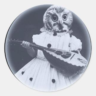 Musical Owl Classic Round Sticker