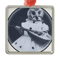 Musical Owl Metal Ornament