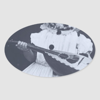 Musical Owl Oval Sticker