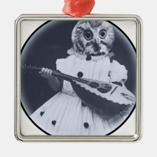Musical Owl Square Metal Christmas Ornament