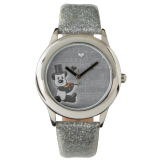 Musical Panda Glitter Watch