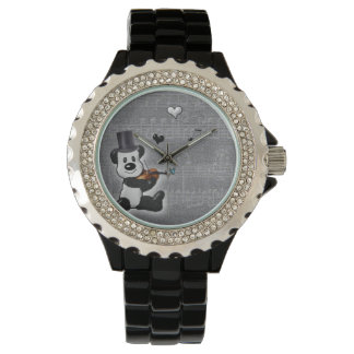Musical Panda Rhinestone Watch