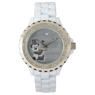 Musical Panda White Rhinestone Watch