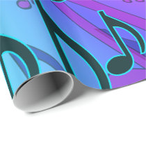 Musical Pattern Dreamy Swirly Music Notes Wrapping Paper