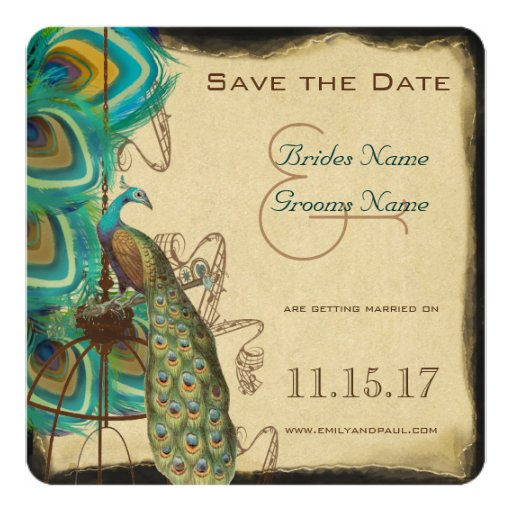 Musical Peacock Bird Cage Feather Save the Date 5.25x5.25 Square Paper Invitation Card
