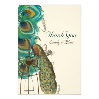 Musical Peacock Bird Cage Feather Wedidng Invitate 3.5x5 Paper Invitation Card