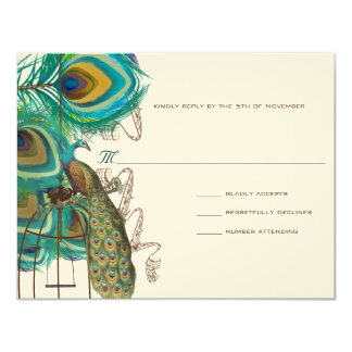 Musical Peacock Bird Cage Feather Wedidng RSVP 4.25x5.5 Paper Invitation Card