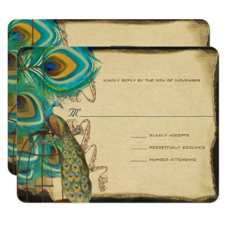 Musical Peacock Bird Cage Feather Wedidng RSVP Card
