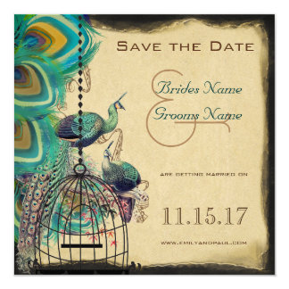 Musical Peacock Bird Cage Love Birds Save the Date Card