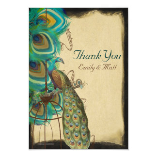 Musical Peacock Birdcage Feather Wedding Thank you 3.5x5 Paper Invitation Card