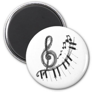 Musical Piano 2 Inch Round Magnet