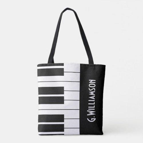 Musical Piano Keys  Add Your Name Tote Bag