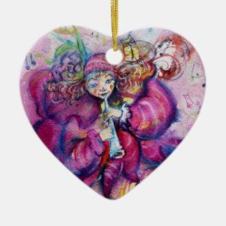 MUSICAL PINK CLOWN Heart Ceramic Ornament