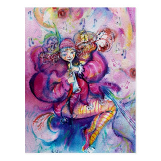 MUSICAL PINK CLOWN POSTCARD