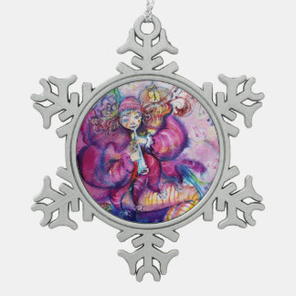 MUSICAL PINK CLOWN SNOWFLAKE PEWTER CHRISTMAS ORNAMENT