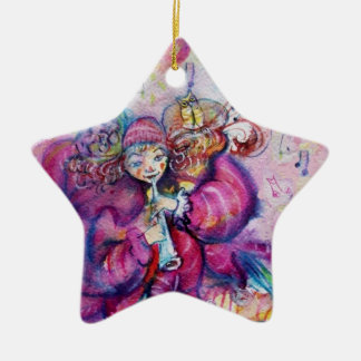 MUSICAL PINK CLOWN star Ceramic Ornament