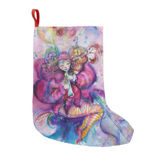 MUSICAL PINK CLOWN WITH OWL SMALL CHRISTMAS STOCKING