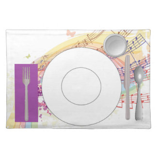 Musical Placemat with plate, glass & flatware