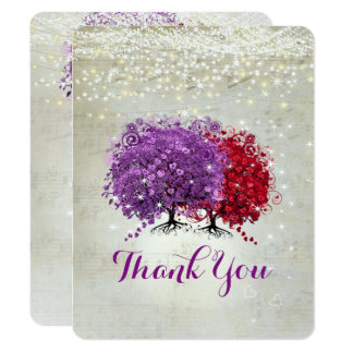 Musical Purple Red Heart Leaf Tree Thank You Card