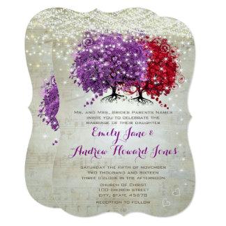 Musical Purple Red Heart Leaf Tree Wedding Invite