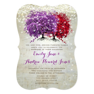 Musical Purple Red Heart Leaf Tree Wedding Invite