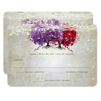 Musical Purple Red Heart Leaf Tree Wedding RSVP Card