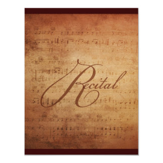 Musical Recital Antique Sheet Music Custom 4.25x5.5 Paper Invitation Card