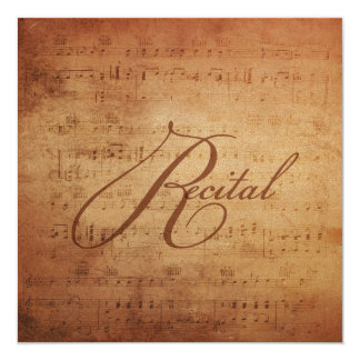 Musical Recital Antique Sheet Music Personalized 5.25x5.25 Square Paper Invitation Card