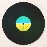 "Musical record plate vinyl vintage style round paper coaster<br><div class=""desc"">Old school cover music art inspiration. Cool design for music studios,  bars,  pubs,  clubs or office.</div>"