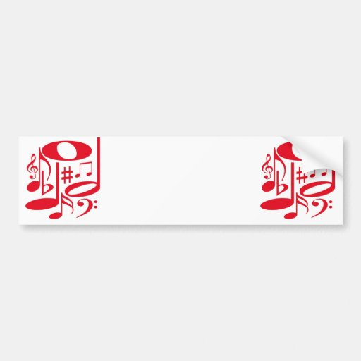 Musical Red Bumper Sticker Car Bumper Sticker