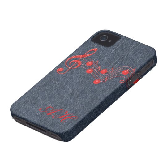 Musical Red Lace and Denim iPhone 4 Cover