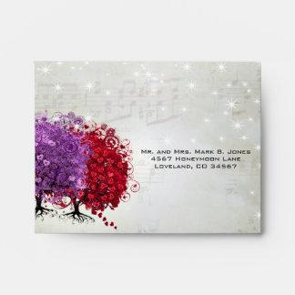 Musical Red Purple Heart Leaf Tree RSVP Envelope