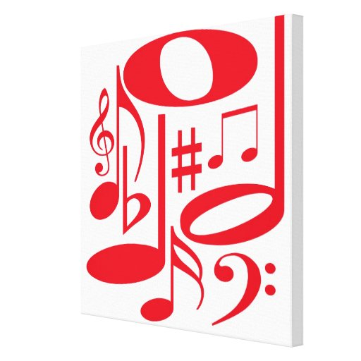 Musical Red Wrapped Canvas Canvas Print