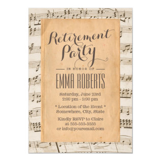 Musical Retirement Party Vintage Old Music Notes Card at Zazzle