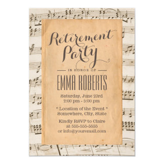 Musical Retirement Party Vintage Old Music Notes Card