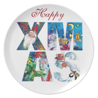 MUSICAL SANTA  AND SNOWMAN  XMAS NIGHT PARTY DINNER PLATE