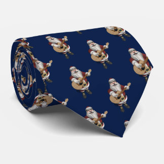 Musical Santa Claus Loves Playing Accoustic Guitar Neck Tie
